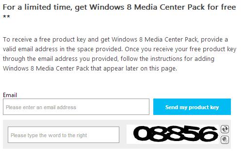 windows 8 media center product key promo