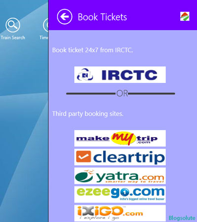 Indian Railways Online booking app windows 8