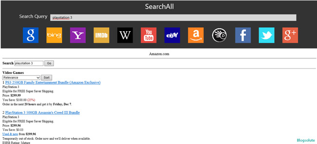 Amazon/ ebay Search app windows 8