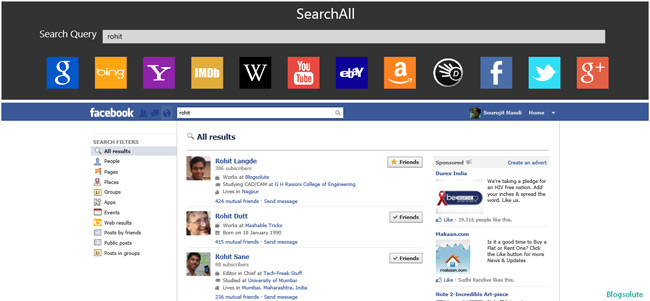 facebook search app windows 8
