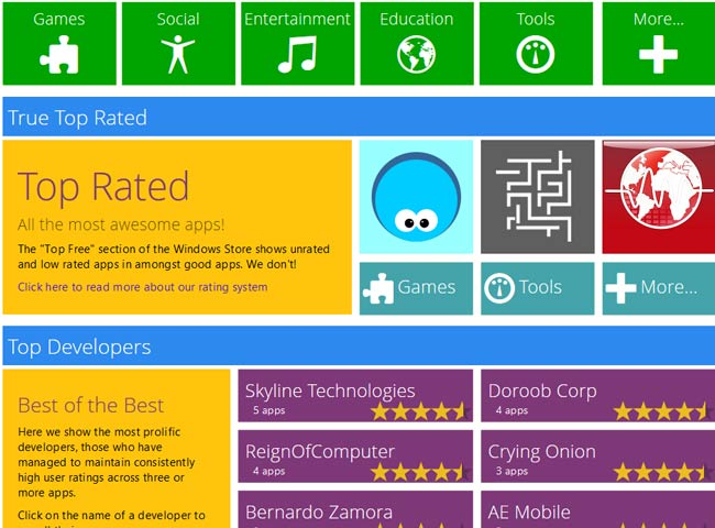 Windows 8 online app store