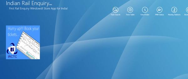 Indian railway enquiry app windows 8