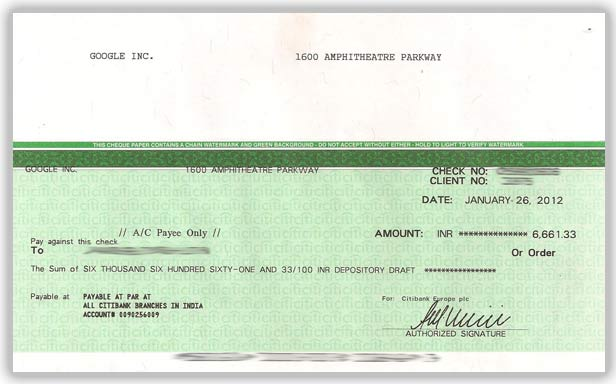 adsense payment cheque