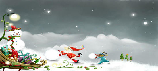 santa snowball hd wallpaper kids