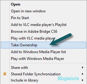 take ownership of files windows 8