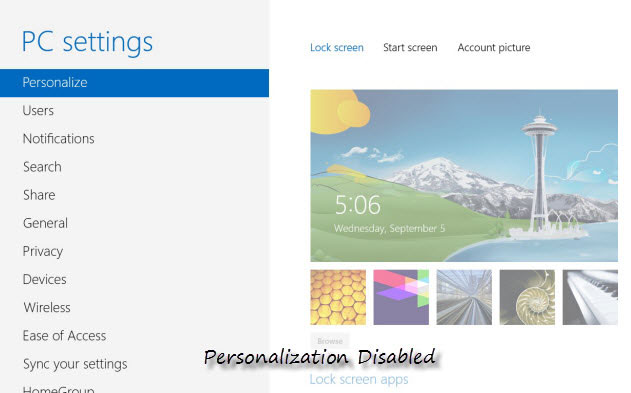 unlock windows 8 personalize