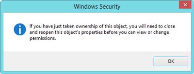 windows 8 files folder ownership