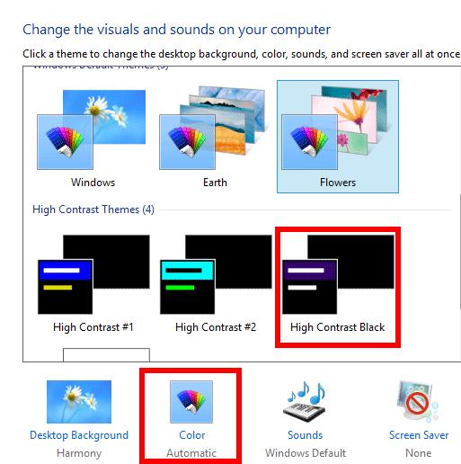 windows 8 aero personalization