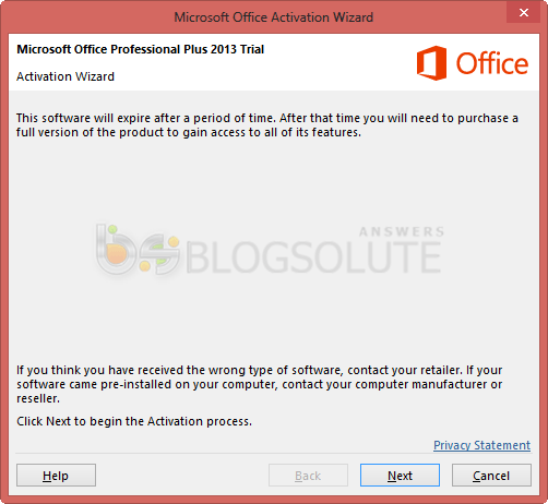 ms-office 2013 activation wizard