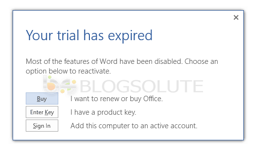 ms-word 2013 trial expired