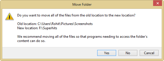 windows 8 screenshot folder moving