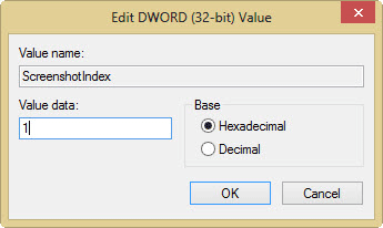 screenshot index value registry key