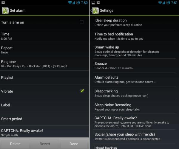 sleep as android settings