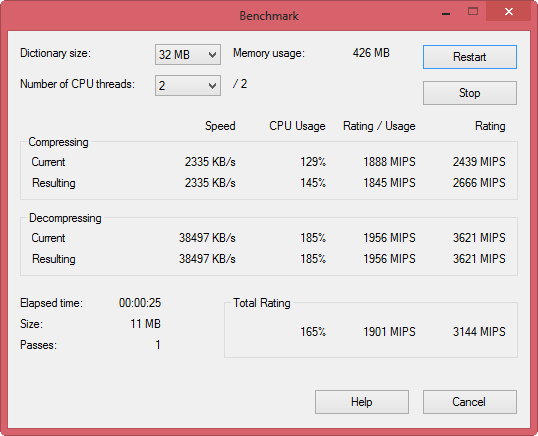 7zip performance becnhmark tool