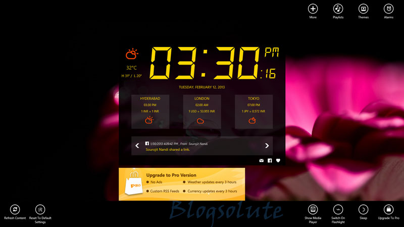 Windows 8 Alarm Clock App With Weather and Facebook Integration