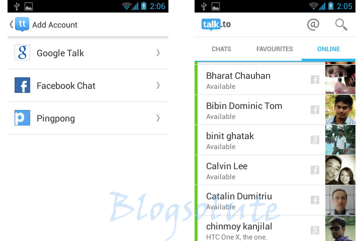 facebook & gtalk chat app android