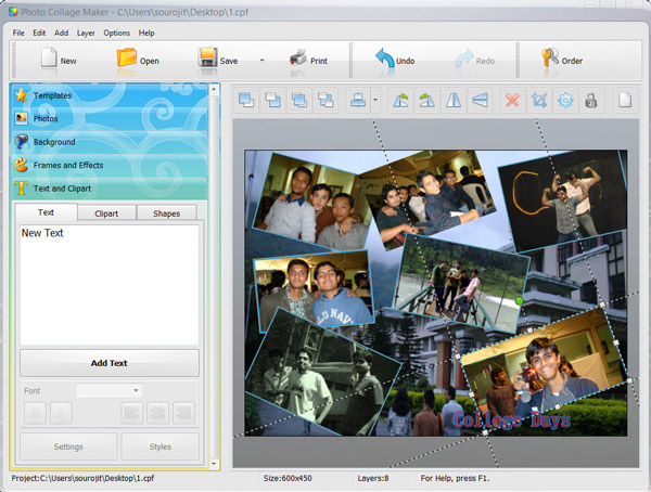 Photo collage creator themes