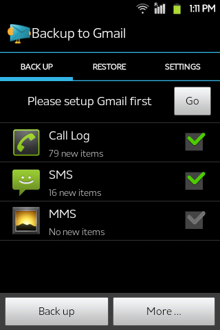 android sms back to gmail