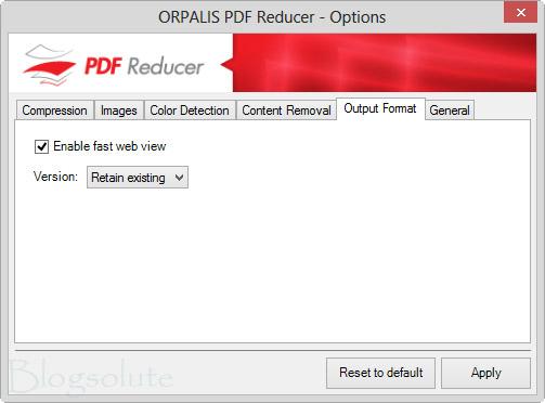 Output Format PDF Compress