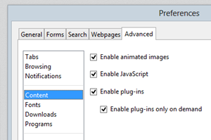 click-to-play options in opera