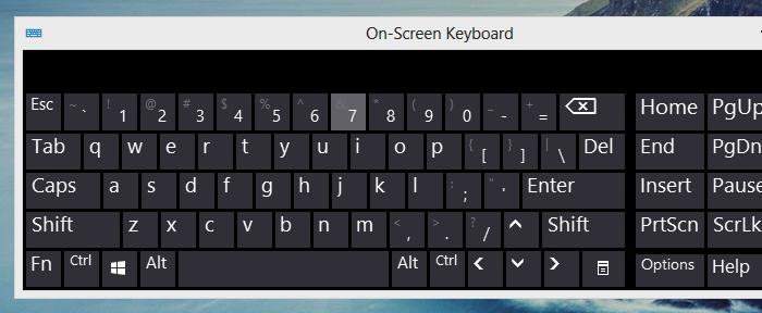 on screen keyboard