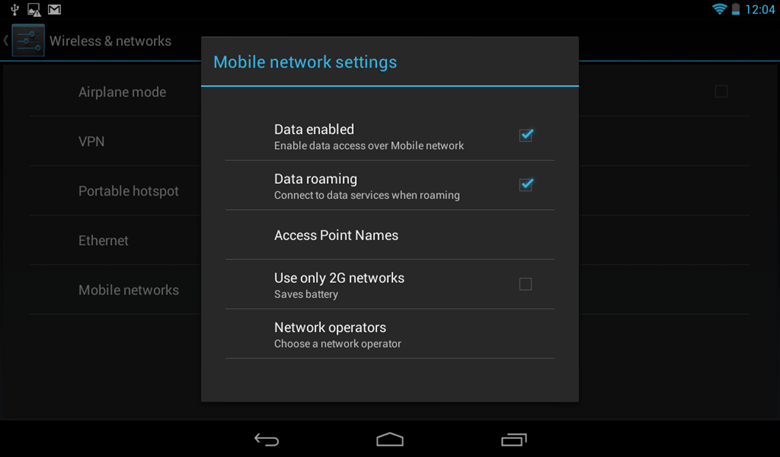 Mobile networks setting