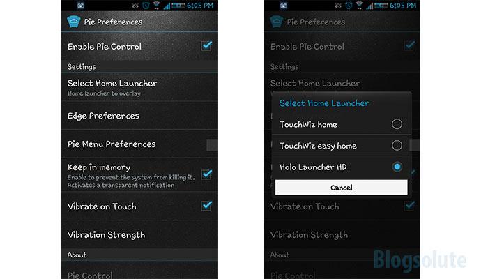 configure pie control app