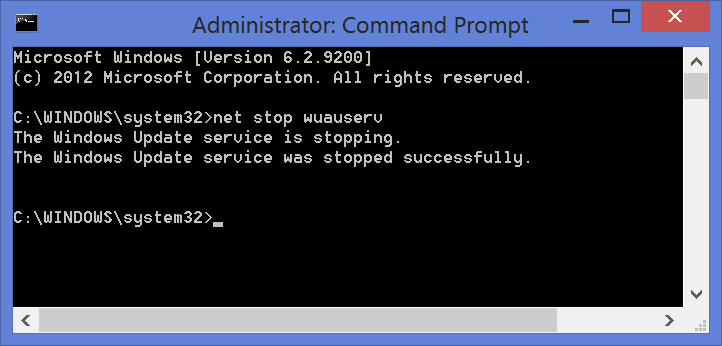 how to stop windows update service through command prompt