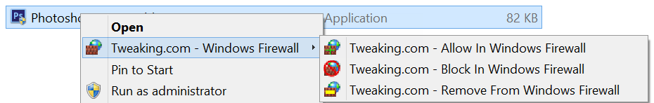 Right Click Firewall Allow Block Menu