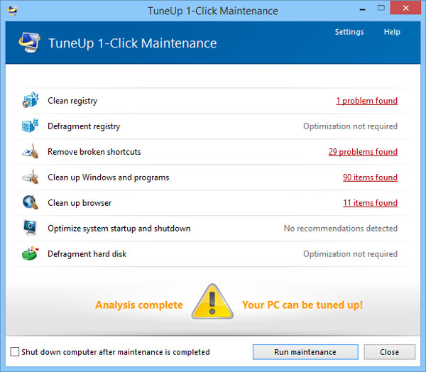 TuneUp One Click Maintenance