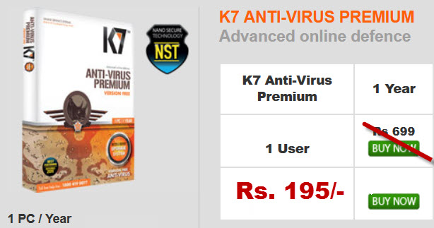 K7 Antivirus Price