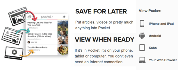 Pocket lets you save pages and read later from anywhere